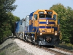 Cruising along on Marquette Rail with the new corporate image unit leading