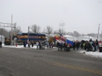 The town prepares for its' Christmas parade as the Santa Express waits after delivering Santa