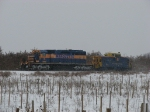 3001 rolls north with the Santa Express through the frozen orchards