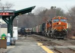Loaded BNSF Grain Train & Inbound MBTA Commuter...