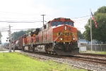BNSF 5033 heads east on a solid lashup of BNSF Heritage II power.