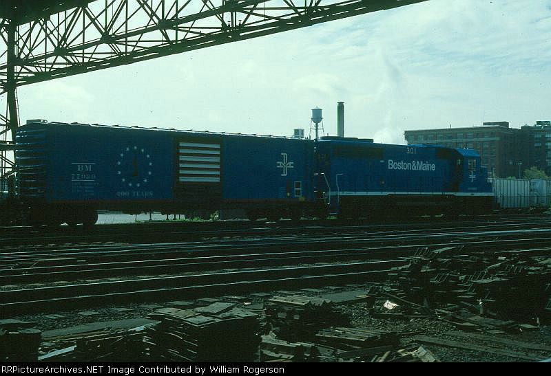 Boston and Maine Railroad EMD GP40-2 No. 301 and 50' Box Car No. 77039
