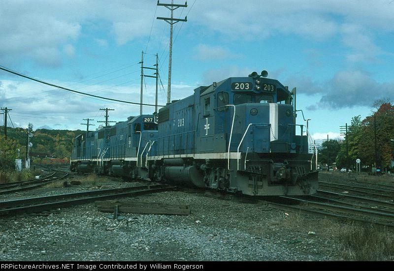 Boston and Maine Railroad EMD GP38-2's No. 203, No. 207 and No. 202