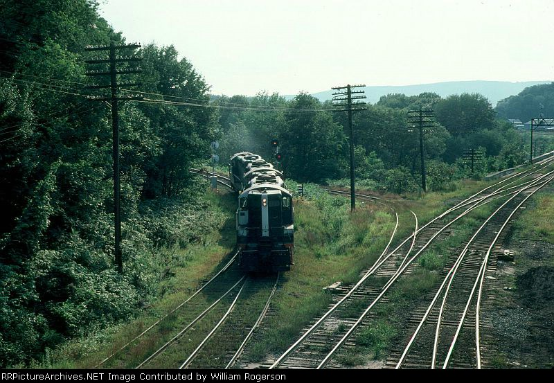 Another view of three Boston and Maine Railroad EMD GP9's making a switching move