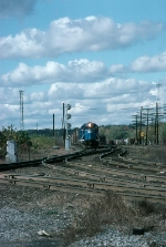 Boston and Maine Railroad EMD GP40-2 No. 317 leads a Mixed Freight Train out of the Yard