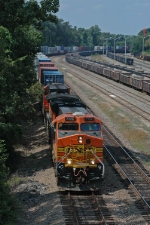 KCS southbound stack train with BNSF run-through power