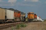 BNSF coal trains meet at Hermann