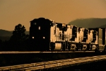 BNSF eastbound stack train at sunset