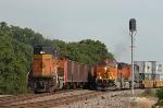 BNSF stack train meets coal train