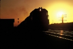 Silhouette of Santa Fe eastbound at sunset