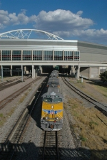 UP 5326 West emerges from beneath the Dallas Convention Center