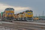 Eastbound UP trains at Centennial Yard