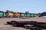 A long line of First Union Rail (FURX) EMD SD40-2's
