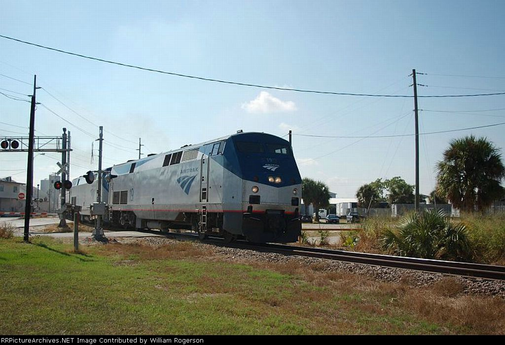 """Northbound Amtrak Train No. 98, the """"Silver Meteor"""" with GE P42DC """"Genesis"""" Locomotive No. 19 in the lead"""