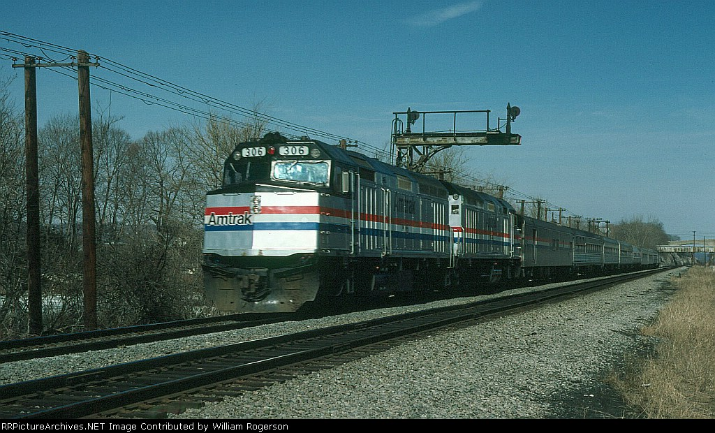 "Southbound Amtrak (AMTK) Train No. 48, the ""Lake Shore Limited"" led by EMD F40PH No. 306"