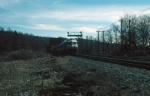 "Northbound Amtrak Train No. 73 (Rohr Turboliner), the ""Empire State Express"" crosses Wappingers Creek"