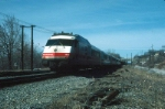 "Amtrak (Rohr Turboliner) Power Car No. 163 brings up the rear of the ""Empire State Express"" northbound"