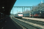 """Amtrak Train No. 62, the """"Salt City Express"""" with Rohr Turboliner Power Car No. 150 in the lead arriving"""