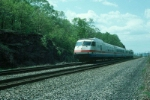 "Northbound Amtrak Train No. 69, the ""Adirondack"" with Rohr Turboliner Power Car No. 160 in the lead"