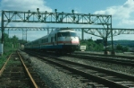 "Northbound Amtrak Train No. 65, the ""Salt City Express"" with Rohr Turboliner Power Car No. 160 in the lead"
