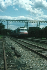 "Northbound Amtrak Train No, 75, the ""Washington Irving"" with Rohr Turboliner Power Car No. 153 in the lead"