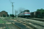 """Southbound Amtrak Train No. 89, the """"Palmetto"""", with EMD F40PH No. 273 in the lead, 35 minutes late"""
