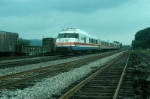 """Southbound Amtrak Train No. 62, the """"Salt City Express"""" led by Rohr Turboliner Power Car No. 150"""