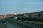 """Eastbound Amtrak Train No. 448, the """"Lake Shore Limited"""", with EMD E8A No. 445 and E9A No. 435 in the lead departs"""