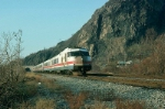 """Southbound Amtrak Train No. 74, the """"Empire State Express"""", with Rohr Turboliner Power Car No. 150 in the lead,"""