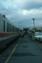 "Amtrak Train No. 68, the ""Adirondack"", with Rohr Turboliner equipment, boarding passengers"