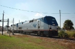 "Northbound Amtrak Train No. 98, the ""Silver Meteor"" with GE P42DC ""Genesis"" Locomotive No. 19 in the lead"