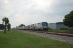 """Southbound Amtrak """"Silver Service"""", Train No. 91, the """"Silver Star"""", with GE P42DC """"Genesis"""" No. 160 in the lead,"""