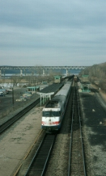 """Amtrak (AMTK) Train No. 74, the """"Empire State Express"""" led by Power Car No. 150"""