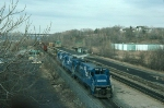 "Conrail (CR) Mixed Freight Train ""SELI"" with three GE B23-7 Diesel Locomotives providing power"
