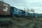 "Passing shot of Southbound Conrail Mixed Freight Train ""SELI"" with three GE B23-7's providing power"