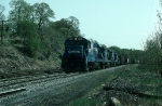 "Northbound Conrail (CR) Mixed Freight Train ""OPSE"" led by GE B23-7 No. 2801"