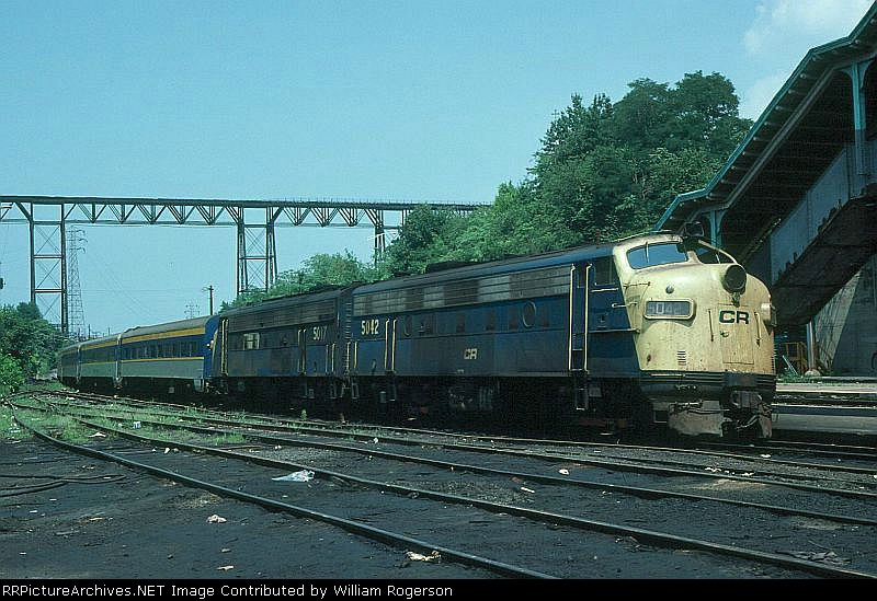 Metropolitan Transit Authority (New York) Commuter Train with, Conrail EMD FL9's No. 5042 and No. 5017,