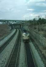Southbound Metropolitan Transit Authority (New York) Commuter Train, with a pair of Conrail EMD FL9's providing power,