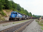 NS 3347 ( Ex-Conrail 6389) is helping this Westbound NS train up the hill