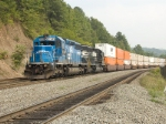NS 3349 (Ex-Conrail 6394) and NS 3346 assist a Stack train