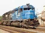 Ex-Conrail 6961) in on the rear of this Eastbound NS Intermodal ( a closer look)