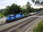NS 5411 ( Ex-Conrail 6717) is helping this Eastbound NS train down the hill