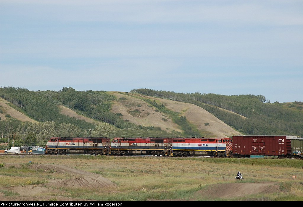 Canadian National Railways Local Freight Train powered by three former BC Rail, Ltd. (BCOL) GE C40-8M's