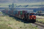 Westbound Canadian National Railway (CN) Container Train led by GE C44-9W No. 2606