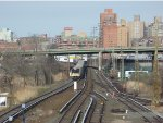 LIRR train approaches Mets-Willets Point