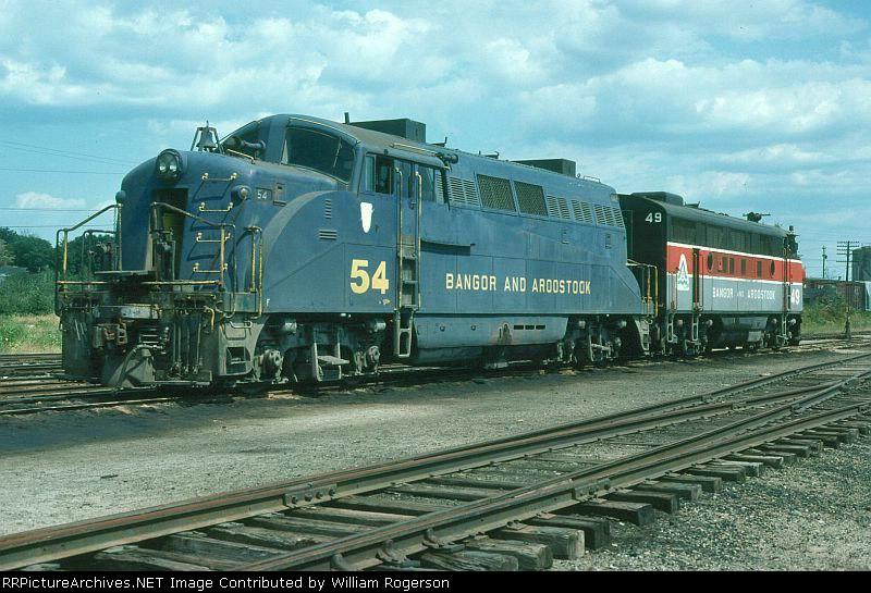 Bangor and Aroostook Railroad EMD BL2 No. 54 and F3A No. 49