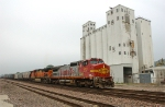 BNSF 876, GE C40-8W, leads a southbound grain train