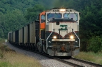 BNSF 9787, EMD SD70MAC, works coal empties westbound