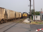 CSX 145 about to leave when the grain train clears