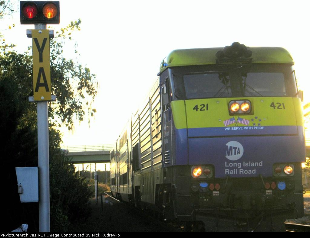 LIRR Train 254 heads east through the YA Block limit signal